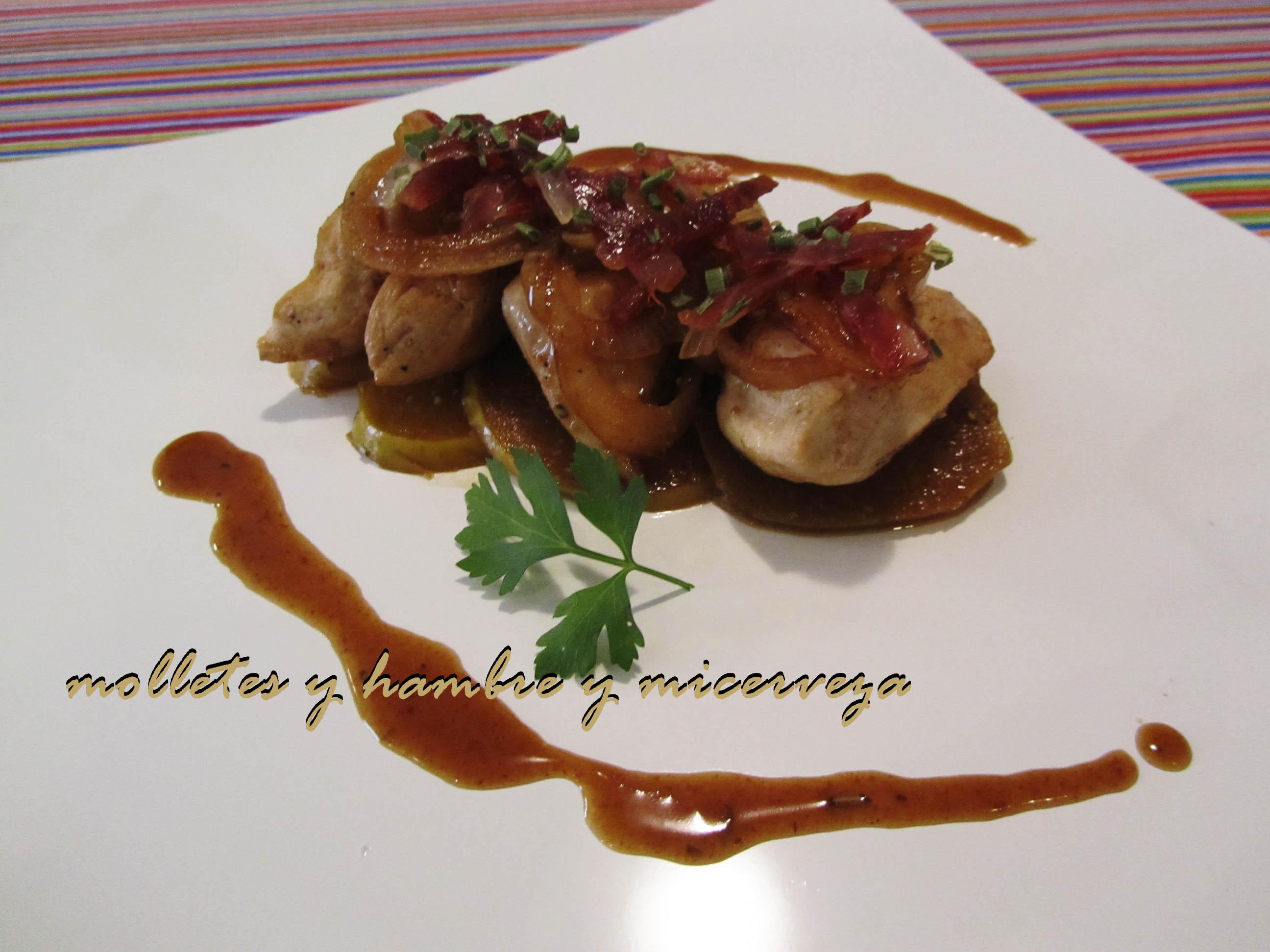 Pollo con cebolla y manzana en salsa de palo cortado for Decoracion de platos gourmet pdf